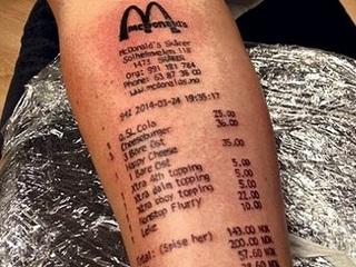 【マクドナルドのレシートを腕にタトゥーした男!! ステマ疑惑と衝撃的写真で、世界中大反響!
