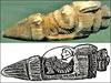 """【オーパーツ】3千年前の古代遺跡から出土した""""宇宙船に乗った人間""""の石像がヤバい!!"""