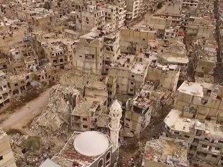 まるで「この世の終わり」! シリア内戦で廃墟と化した街の空撮映像が地獄すぎる