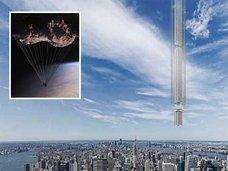 """【驚愕速報】小惑星から「超高層ビル」を垂らす""""天空ビル計画""""がNYで浮上! 空飛ぶスマートシティが実現へ!"""