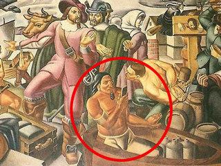"""80年前の壁画に""""スマホでメールチェックする""""アメリカ先住民の姿が描かれていた! 宇宙人との交流を示す証拠か、タイムトラベラーか、議論紛糾!"""