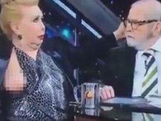 TVで大女優のおっぱいが何度もポロリポロリの放送事故!