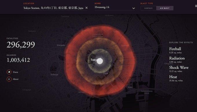 東京に北朝鮮ミサイルが打ち込まれると○万人が即死する! 核兵器の被害状況をシミュレーションできる恐怖のサイトが公開の画像3