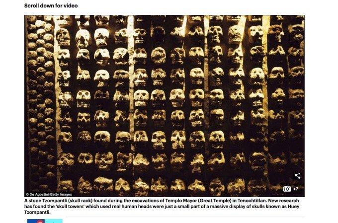 数千人分の頭蓋骨で作った古代アステカの生贄祭壇「ツォンパトリ」が発見される! 心臓をえぐって斬首し… 膨大な名誉の証に戦慄!の画像1