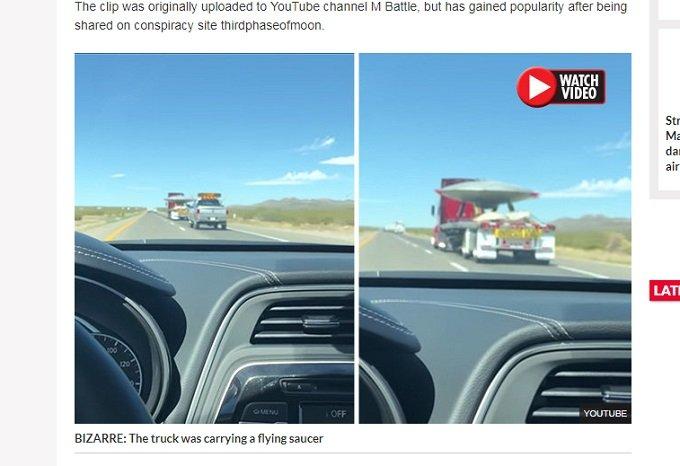 エリア51で「巨大円盤型UFO」を輸送中のトラックが撮影される! 捕獲されたUFOか、実験機か…議論沸騰!の画像1