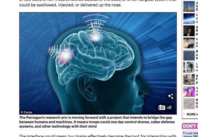 考えるだけで機械を遠隔操作する「神経インターフェース」遂にDARPAが開発着手! 鼻から入れて、脳波で送受信!の画像1