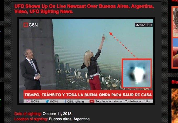アルゼンチンでTV生放送中にUFOが出現・接近、大騒ぎに! キャスター大興奮で解説忘れ「気象学的にあり得ない」「今のはUFOだ」!の画像1