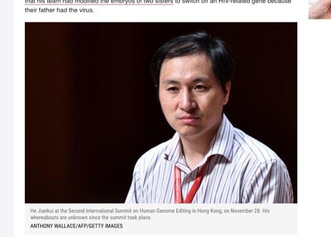 【速報】世界初「ゲノム編集ベビー」の中国人科学者が行方不明! 拉致か、逃亡か…研究の虚偽疑惑も浮上!の画像1