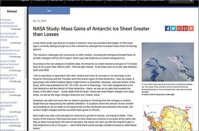 NASA「南極大陸は失われていく氷より、増えている氷の量のほうが多い」と発表も多くの研究家から異論噴出!!の画像1