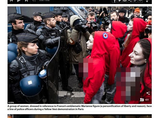 【閲覧注意】パリのデモ「黄色いベスト運動」に赤いオッパイ丸出し女たちも参戦! 暴走サンタも現れ…!の画像1