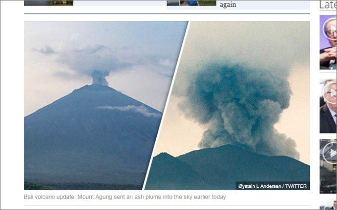 バリ「アグン山」の噴火は世界の空を不気味な色に変える! 学者が断言、噴煙高さ1万m超えで全人類が「ムンクの叫び」状態に(現在9000m)!の画像1