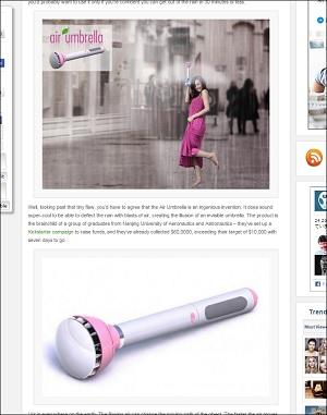 傘が劇的に進化! 見えない傘、その名も「空気傘」が製品化目前!!の画像1
