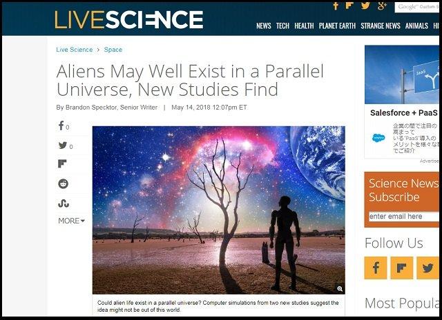 「宇宙人はパラレルワールドに無数に存在する」最新シミュレーションで判明! エイリアンの存在条件が大幅に修正される!の画像1