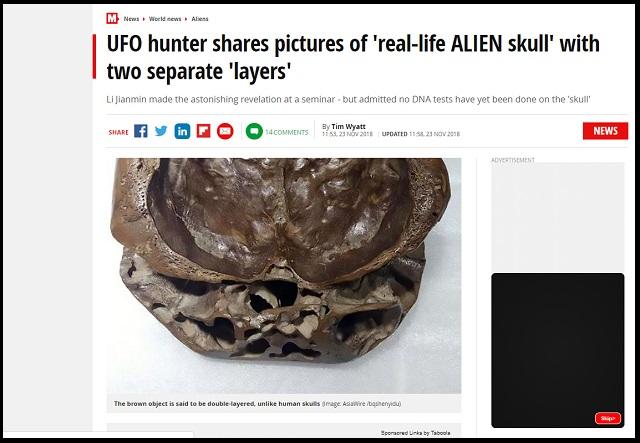 【衝撃】有名SF作家が「宇宙人の頭蓋骨」をガチ公開! 精密科学分析で4億年前の地球外生命体と確証、DNAテストも…!の画像2