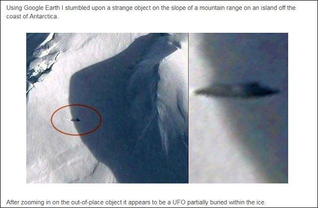 【衝撃画像】南極に隠された16m超の巨大UFOがグーグルアースで発見される! 専門家「窓らしきものも確認」「ナチス製の可能性」の画像2