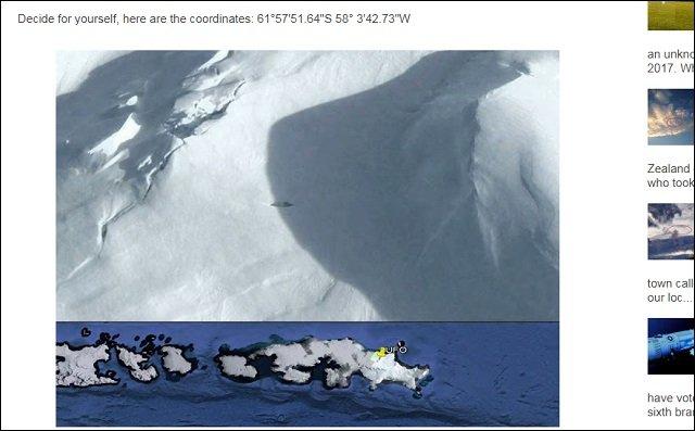 【衝撃画像】南極に隠された16m超の巨大UFOがグーグルアースで発見される! 専門家「窓らしきものも確認」「ナチス製の可能性」の画像1