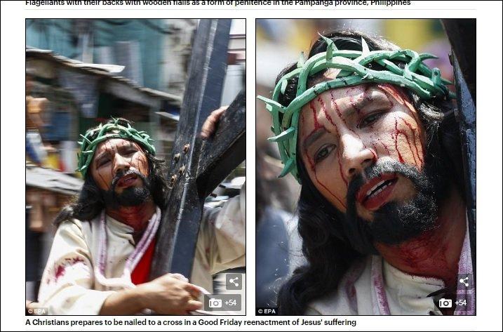 【閲覧注意】キリストの処刑を完全再現する血みどろイースター祭り! 釘で手足を打ち抜き、皮膚が裂けるまでムチ打ち!!=フィリピンの画像1