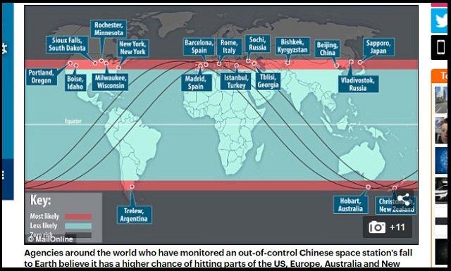 【超悲報】3月30日~4月2日、札幌に中国衛星「天宮1号」が落下する可能性がESA予測で判明! 猛毒物質が散る危険も!? の画像1