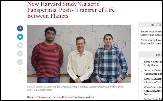 ハーバード大の研究者3人「人類の起源は宇宙」ガチ推し論文発表! パンスペルミア説が常識に…我々は宇宙からの移民だった!の画像1