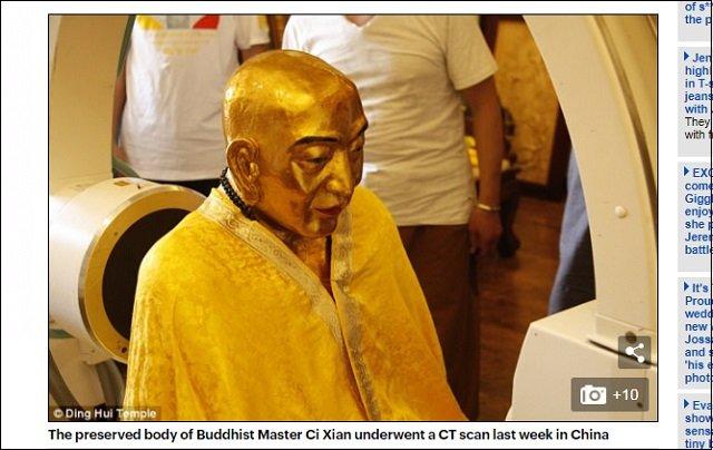 神奇! 1000年前に死んだ仏教僧の完全なるゴールデンミイラ仏! 医師驚愕「骨も脳も完璧に保存されている」の画像1