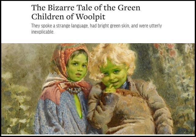 12世紀イギリスの昔話「グリーンチルドレン」に実話説が浮上! 学者「全身緑色の子どもは宇宙人、物質転送装置も…」の画像1