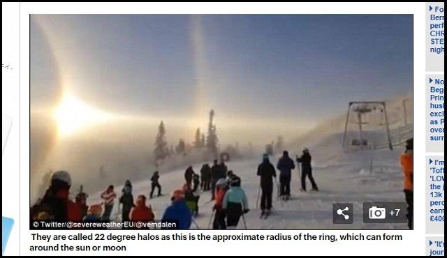 【動画】「これは天国の扉か、UFO母船か!」スキー場に美しすぎる天使の輪が降臨! 神秘的光景にスキーヤー棒立ち=スウェーデンの画像3