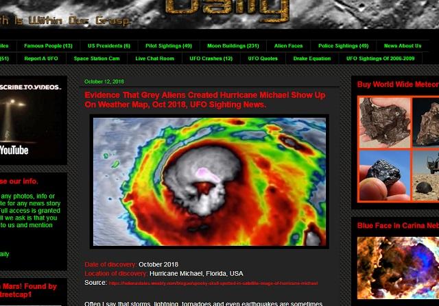 【衝撃】大型ハリケーンの衛星画像に「グレイの顔」がクッキリ、台風は宇宙人製だった!? 米戦闘機F22の大量破壊は人類への警告!の画像2