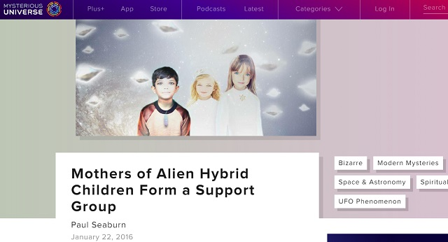 宇宙人とのハイブリッドを生んだ母親たちが相互扶助グループ結成、HP開設! 「エイリアンとのセックスは最高」の画像1
