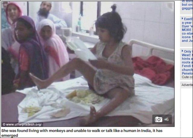 【動画アリ】森の中でサルに育てられた8歳少女が発見される! 金切り声を上げ4足歩行する姿が完全に野獣=インドの画像2