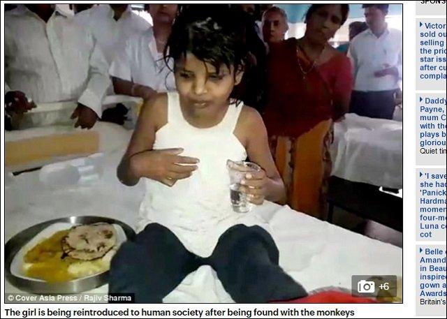 【動画アリ】森の中でサルに育てられた8歳少女が発見される! 金切り声を上げ4足歩行する姿が完全に野獣=インドの画像3
