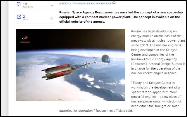 遂にロシアが「原子力インターステラー宇宙船」の開発を発表、動画公開! 超イケてる外観… 原子力開発の舞台が完全に宇宙へ移行中!の画像1