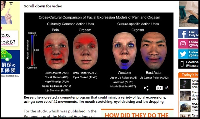 SEX絶頂の「イキ顔」はアジアと欧米で全く異なることが科学で判明! 画像で分析、オーガズムの異文化理解の画像2