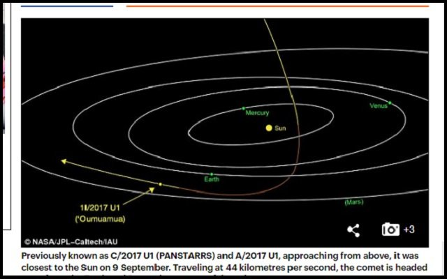 【ガチ】葉巻型の小惑星! 史上初太陽系外から飛来した「Oumuamua(オウムアムア)」に監視型UFOの可能性が浮上!の画像2
