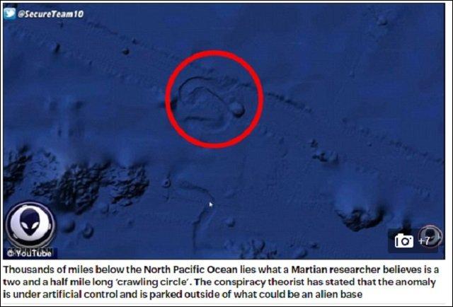 アラスカの海底を動き回る「超大型UFO」がグーグルアースで発見される! 海外メディア騒然「直径4km、数百km移動した」の画像1
