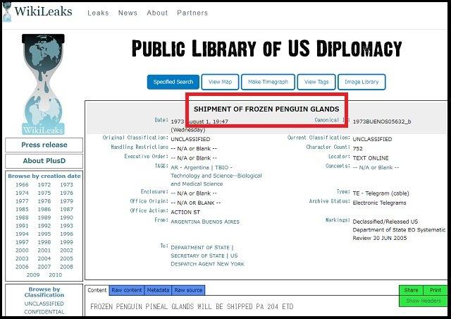 【ガチ】米政府が「氷漬けのペンギンの松果体」を爆買い、ウィキリークスが暴露! 目的は一切不明、理学博士がコメント「超能力研究の可能性」の画像2
