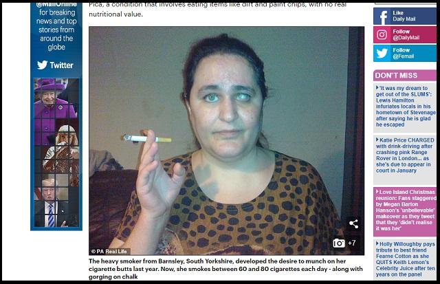 毎晩ぴったり8本の吸殻を20年食べ続ける女(42)が謎すぎる! 「カリカリした食感が最高」奇病の原因は?の画像1