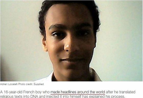 天才少年、聖書とコーランをDNA情報に変換し自らに注射!文字から起こした高分子を人体に初移植!の画像1