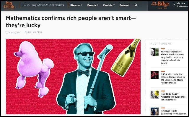 【朗報】金持ちは頭が良いわけではなく、ラッキーだっただけ! 成功に才能・努力は一切関係なし、数学で判明!の画像1