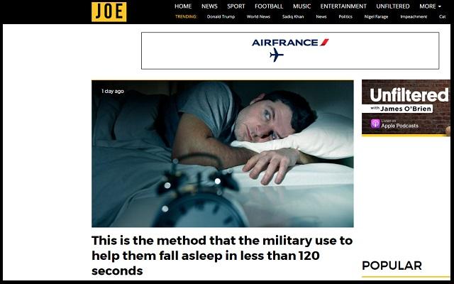 「2分で眠りに落ちる」米軍式最強睡眠法が公開される! 96%の兵士が成功、10秒間○○をつぶやき…の画像1