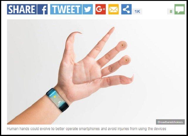 【衝撃画像】スマホの影響で人間の手が超絶キモイ形に変化していくことが判明! 吸盤、指の湾曲…衝撃の進化!の画像2