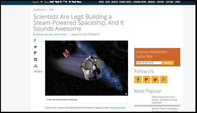 宇宙を無限に航行できる蒸気宇宙船が爆誕! テスト飛行に成功、宇宙探査機は「蒸気の時代」に突入!の画像1