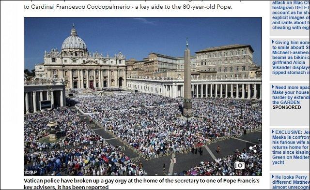 【速報】ローマ法王の従者宅で「キメセク乱交パーティ」開催が発覚、強制捜査へ!バチカンの乱れた性の実態に全世界戦慄!の画像1