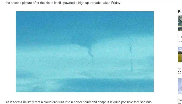 【衝撃画像】アメリカ上空にダイヤモンド型UFO出現! 専門家「気象を操作してトルネードを発生させている」の画像2