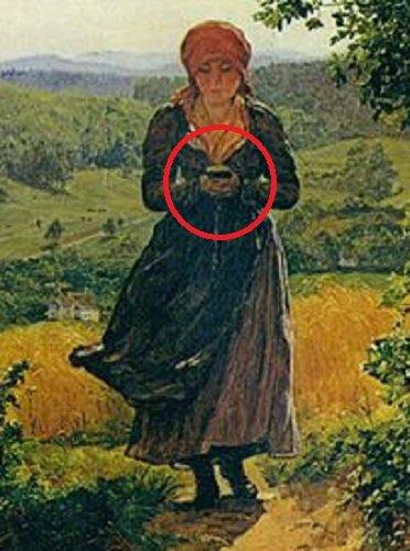 【ガチ】150年前の名画に「歩きスマホの少女」がハッキリ描かれていた! iPhone Xと完全一致、スマホはタイムトラベル製品だった!の画像2