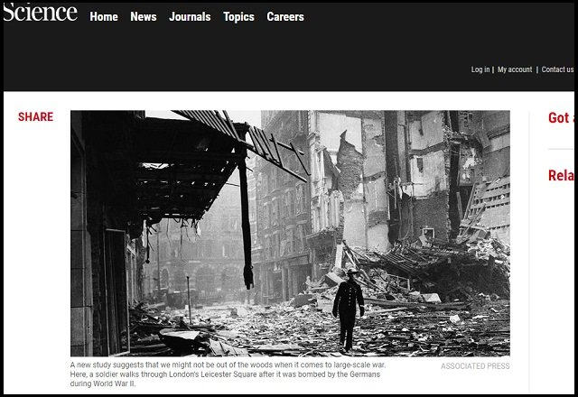 【悲報】第三次世界大戦は統計的には確実に起きると判明! 戦争時期も算出、平和は続かない!の画像1